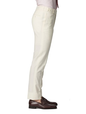 Cream Plain Weave Bespoke Trouser