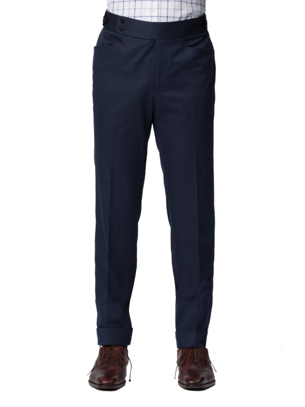 Navy Cotton Bespoke Trouser