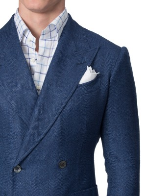 Sky Blue Textured Herringbone Bespoke Sport Coat