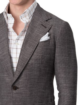 Brown Textured Hopsack Bespoke Sport Coat
