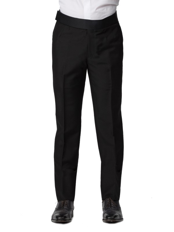 BLACK MOHAIR CLASSIC HOOK & EYE TUXEDO TROUSER