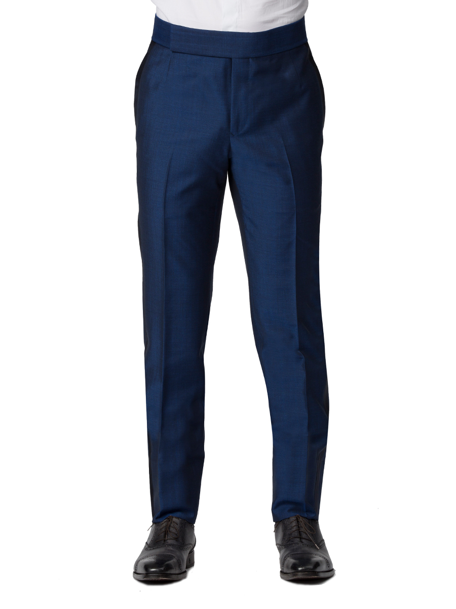 French Blue Mohair & Silk Bespoke Formal Trouser