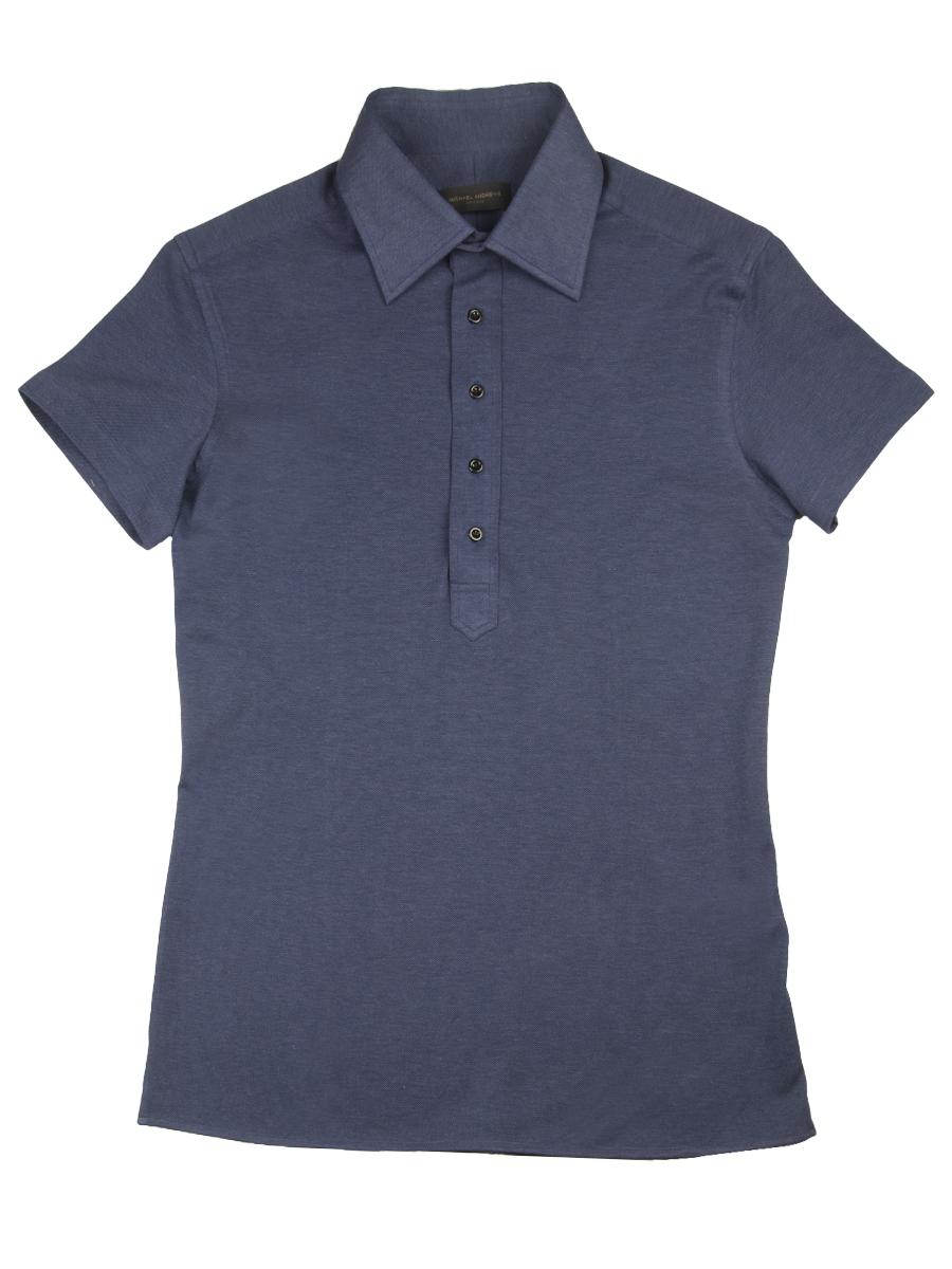 Navy Pique Short Sleeve Polo Shirt (5-Btn)