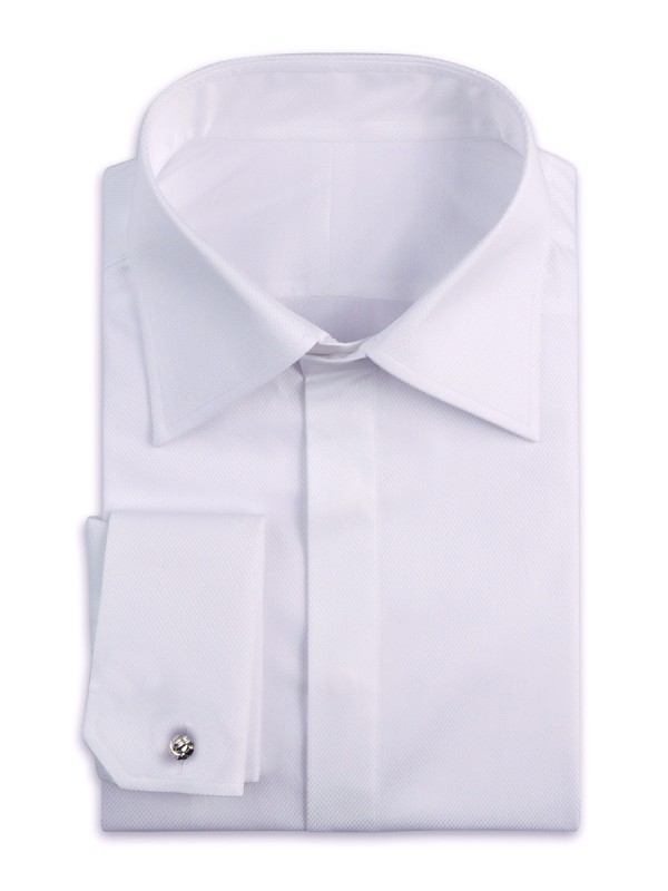 White Pique Hidden Placket Classic Collar Shirt