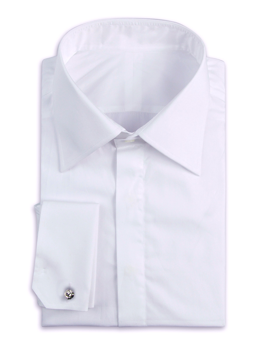 WHITE POPLIN HIDDEN PLACKET TRADITIONAL COLLAR FORMAL SHIRT