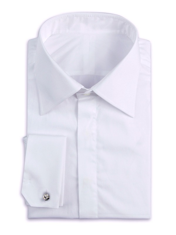 White Poplin Hidden Placket Classic Collar Shirt