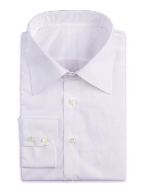White Poplin Italian Collar Shirt