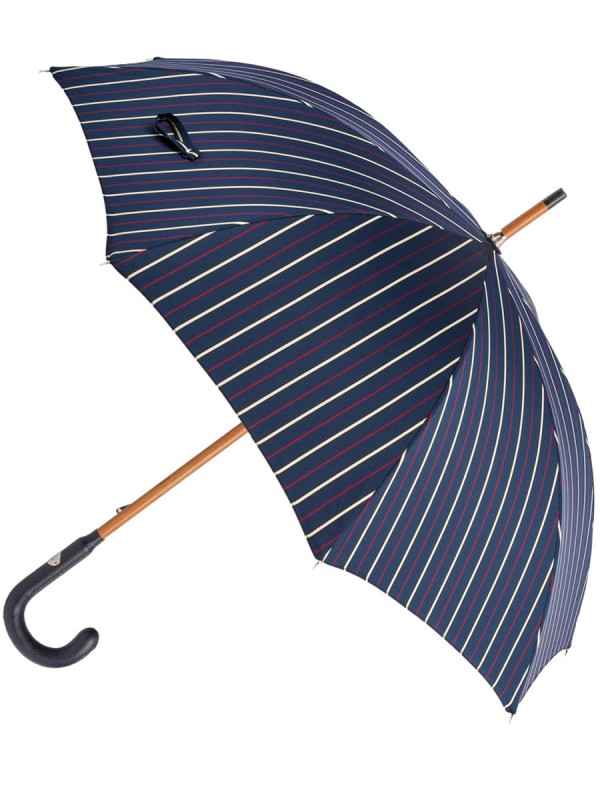 Navy Striped Umbrella with Leather Handle (In-Stock)