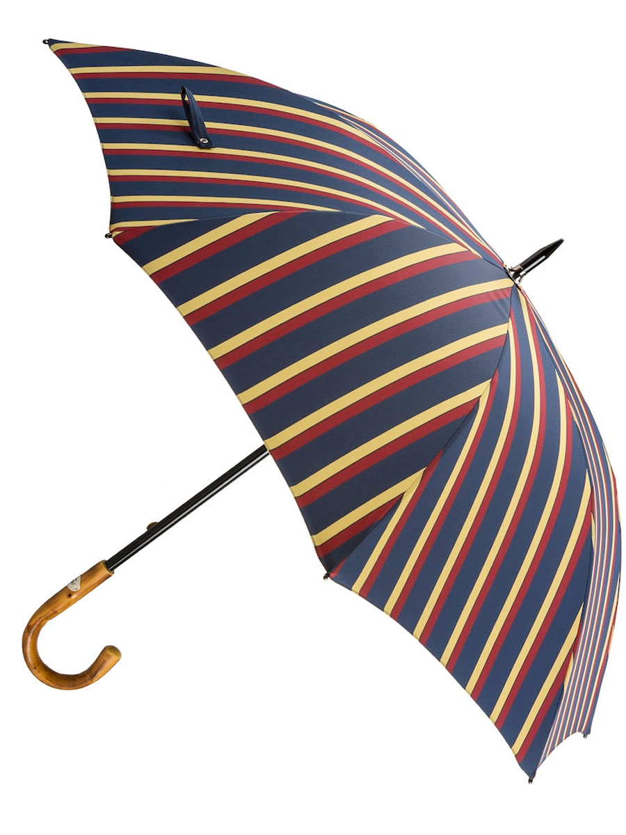 Large Striped Umbrella With Chestnut Handle
