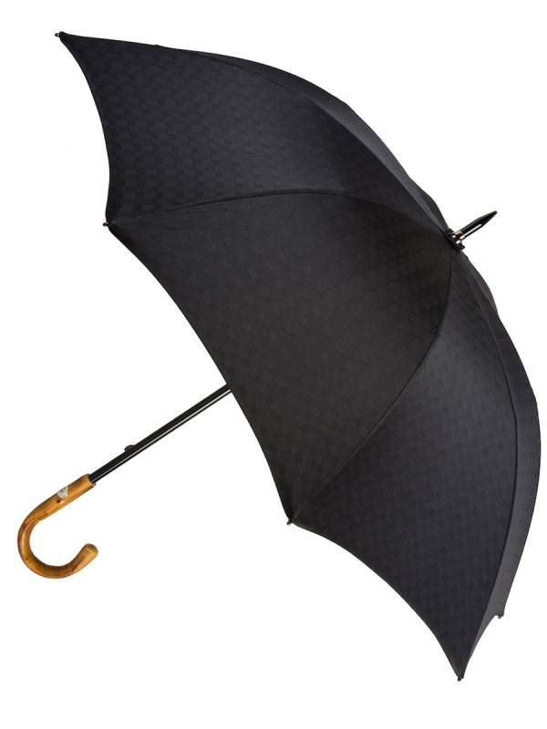 Black Patterned Umbrella with Chestnut Handle