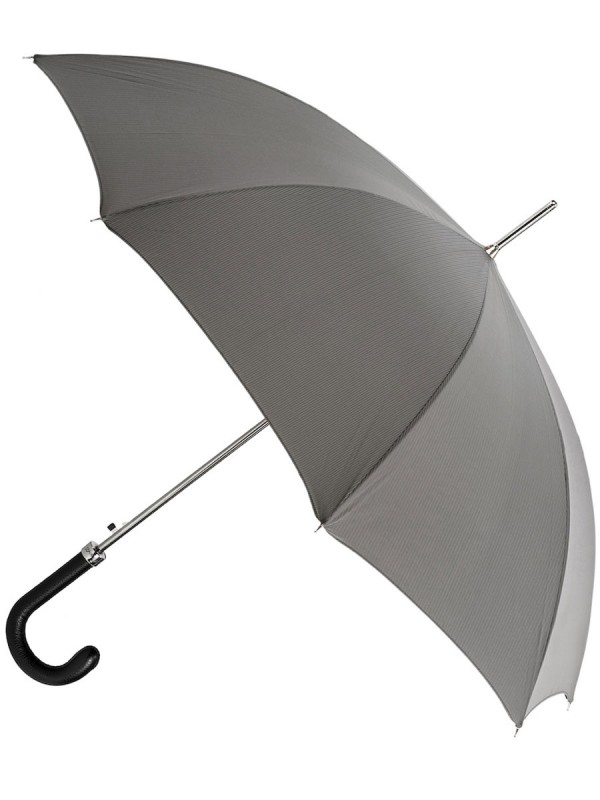 Grey Umbrella with Leather Handle