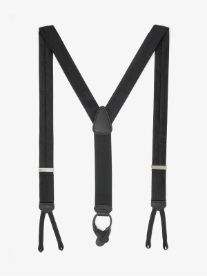 Formal Black Herringbone Suspenders
