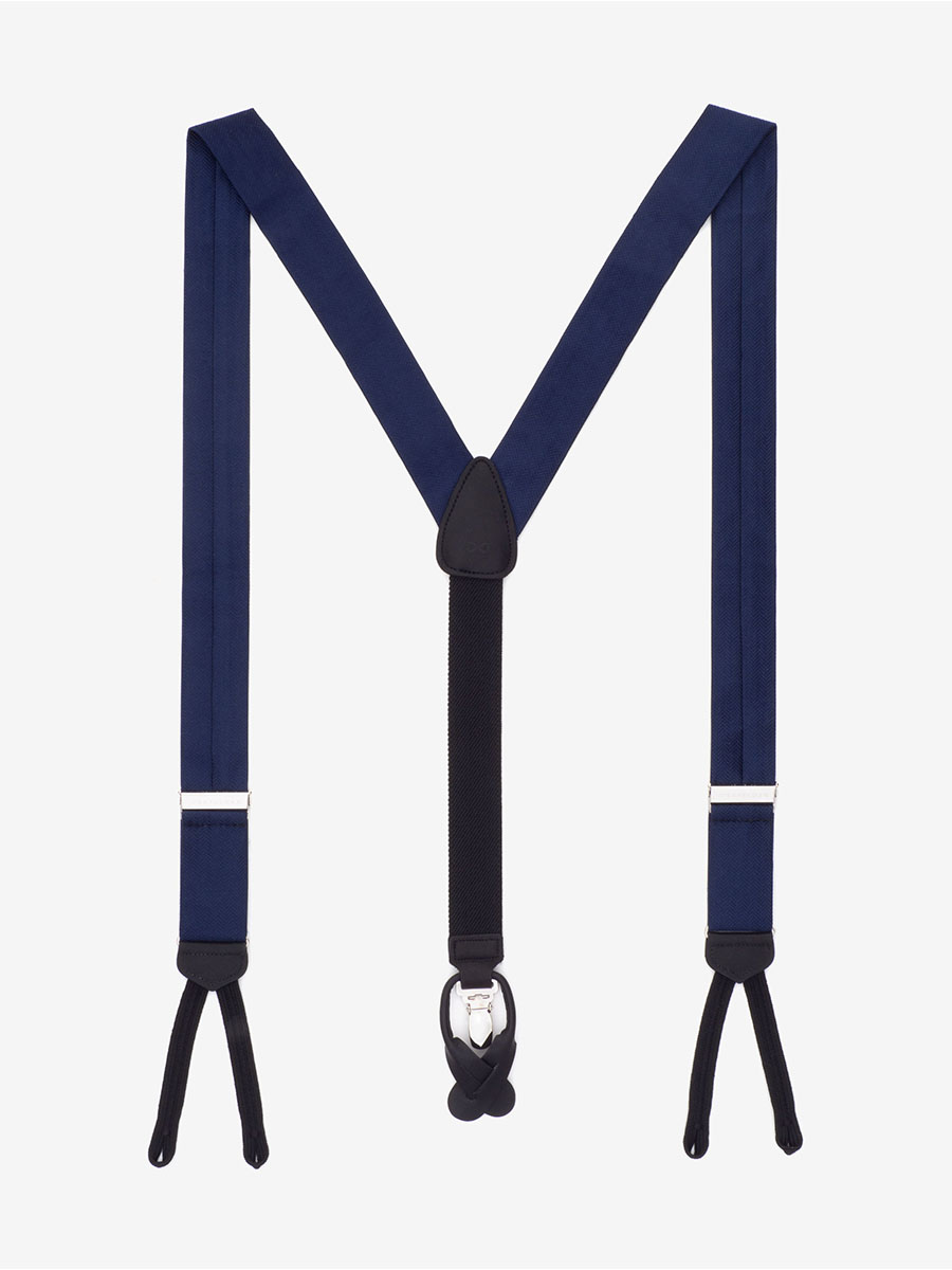 Formal Navy Herringbone Suspenders