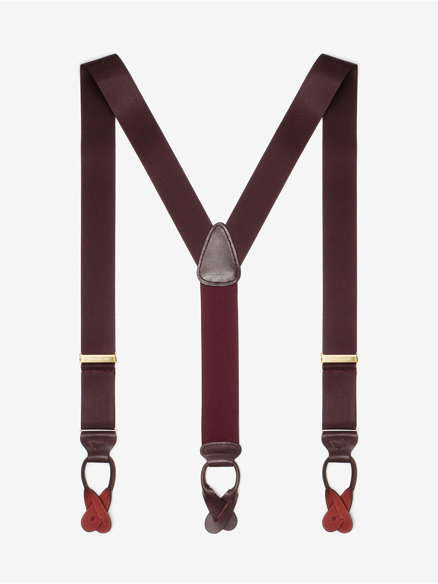 XL Hudson Burgundy Suspenders