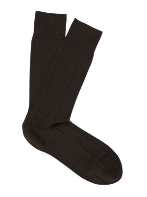 Light Cashmere Ribbed Dress Socks Dark Brown