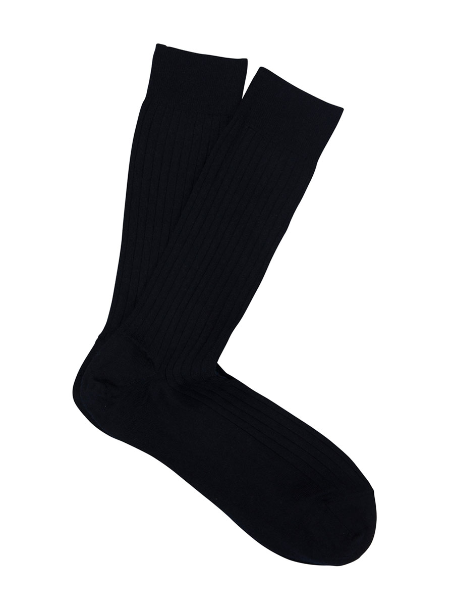 Extrafine Merino Ribbed Dress Socks Navy