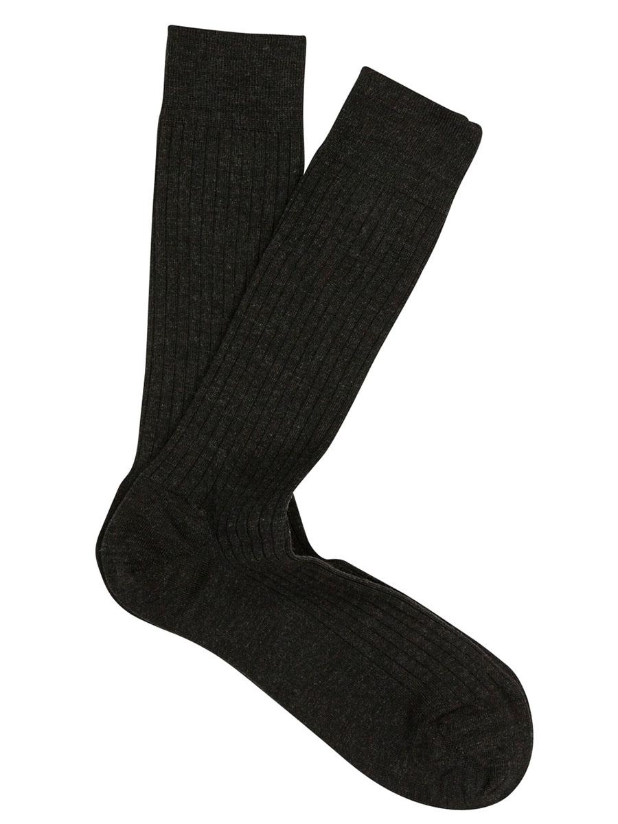 Extrafine Merino Ribbed Dress Socks Charcoal