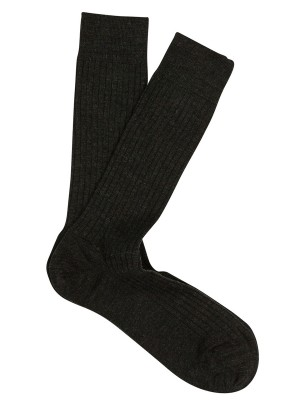 Extrafine Merino Ribbed Dress Socks Charcoal