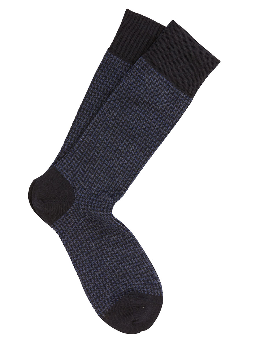 Extrafine Merino Houndstooth Socks Navy
