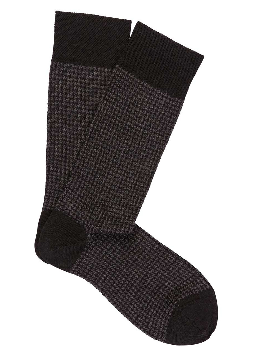 Extrafine Merino Houndstooth Socks Black