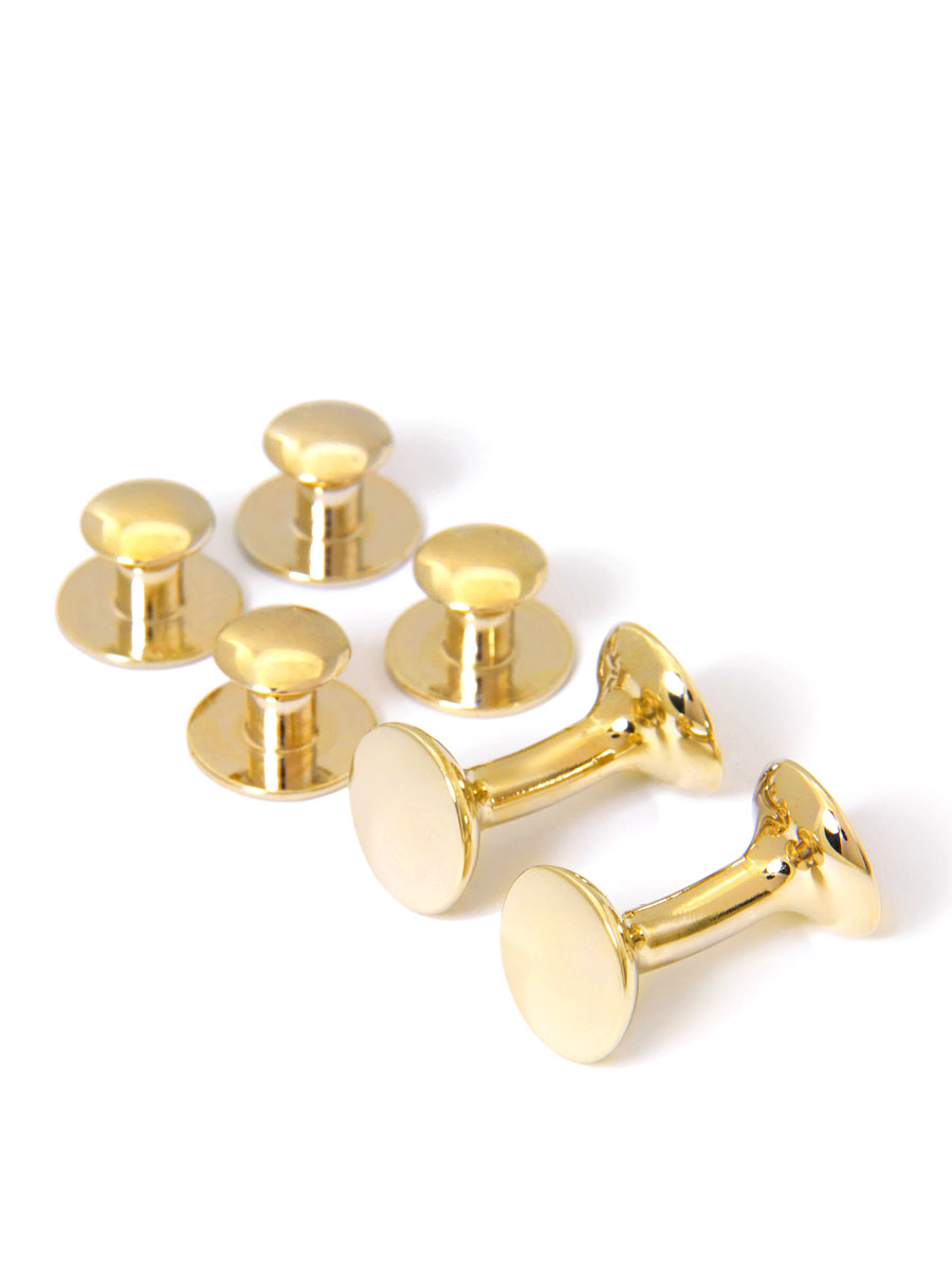 ROUND GOLD DRESS STUD AND CUFFLINK SET