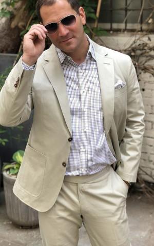 Beige Solid Cotton Suit