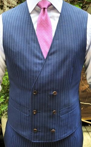 Navy Pin Dot Stripe Wool Mohair Suit
