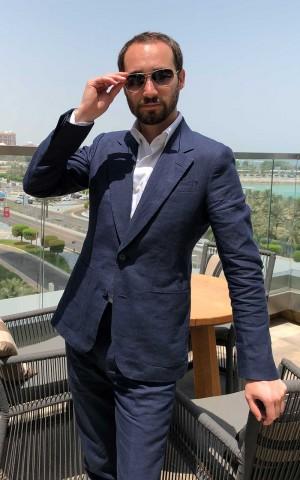 Bespoke Blue Solid Linen Suit