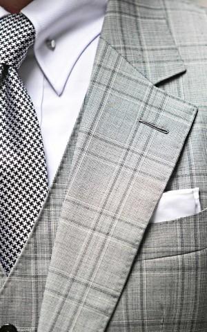 Black & White Hopsack Glencheck Bespoke Suit