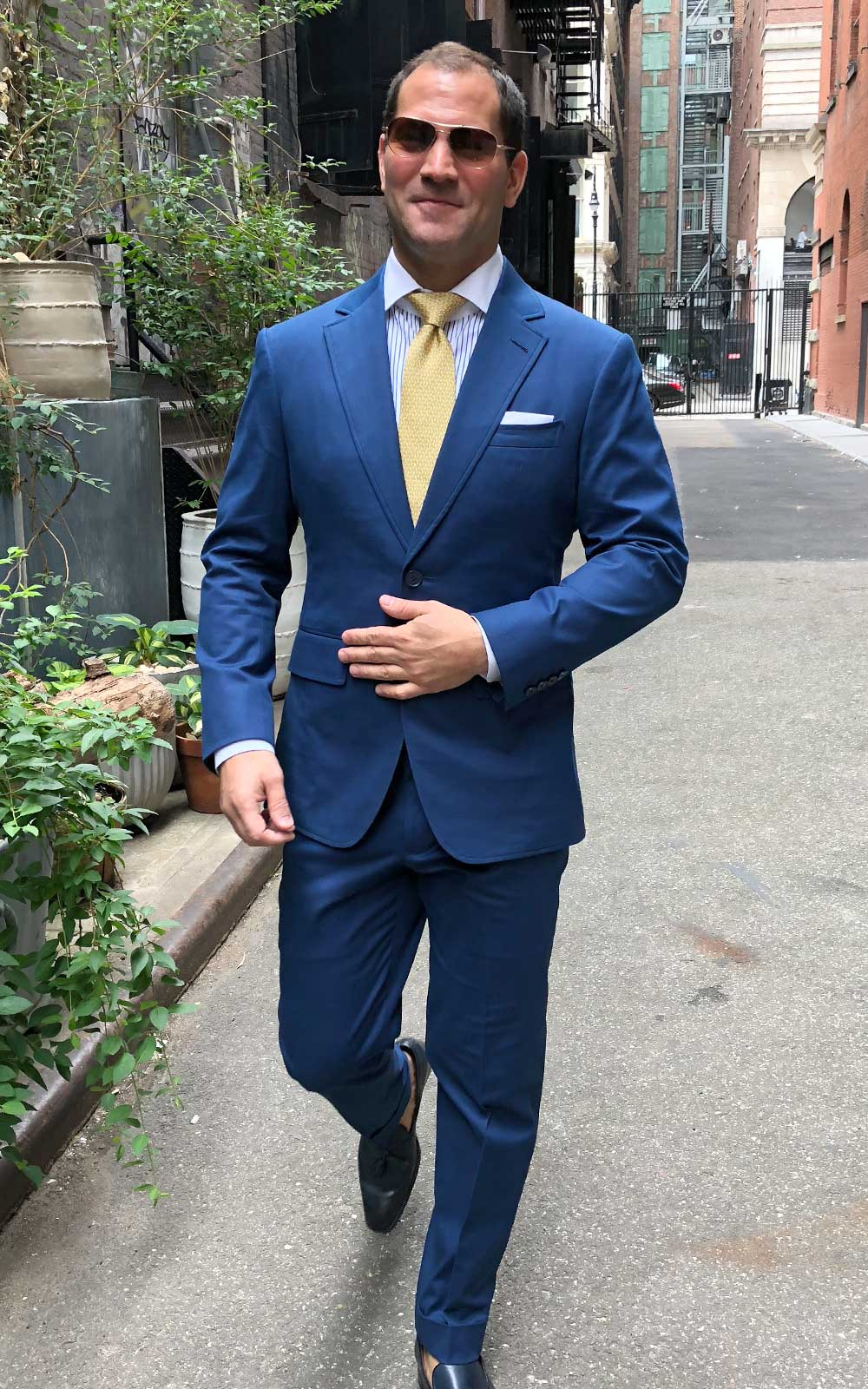 Navy Blue Solid Cotton Stretch Suits