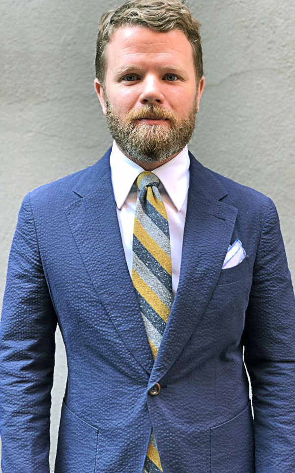 Dark Blue Solid Cotton Seersucker Bespoke Suit