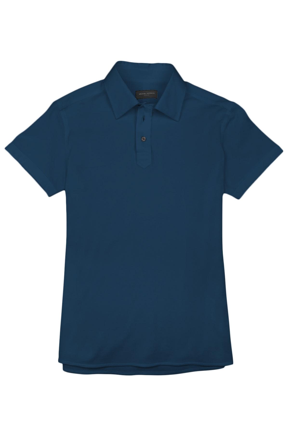 Prussian Blue Pique Polo Shirt