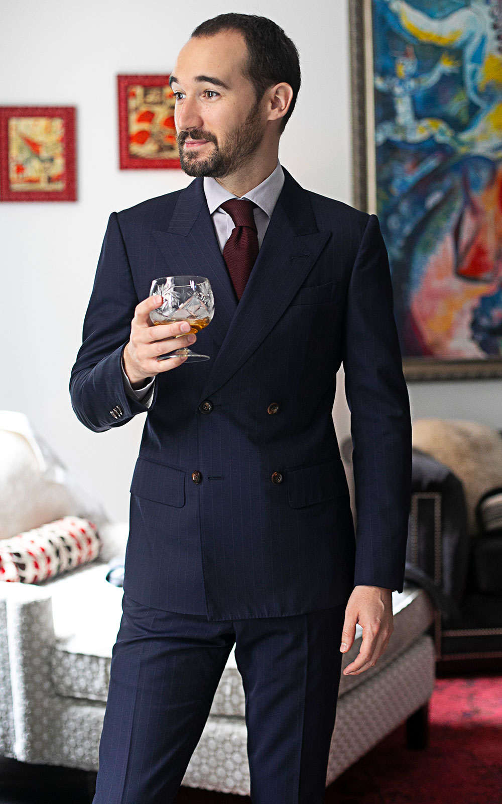 Dark Blue Stripe Double Breasted Bespoke Suit