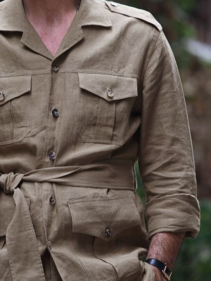 Light Brown Belted Safari Shirt-Jacket