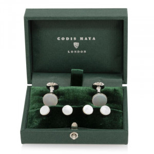 Mother of Pearl Stud and Cufflink Set (White Rhodium)