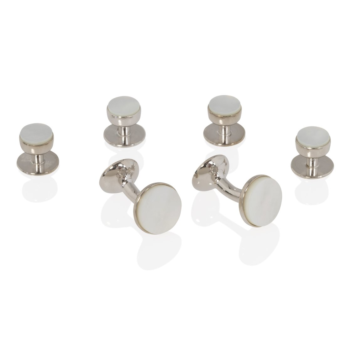 Mother of Pearl and Silver Stud and Cufflink Set