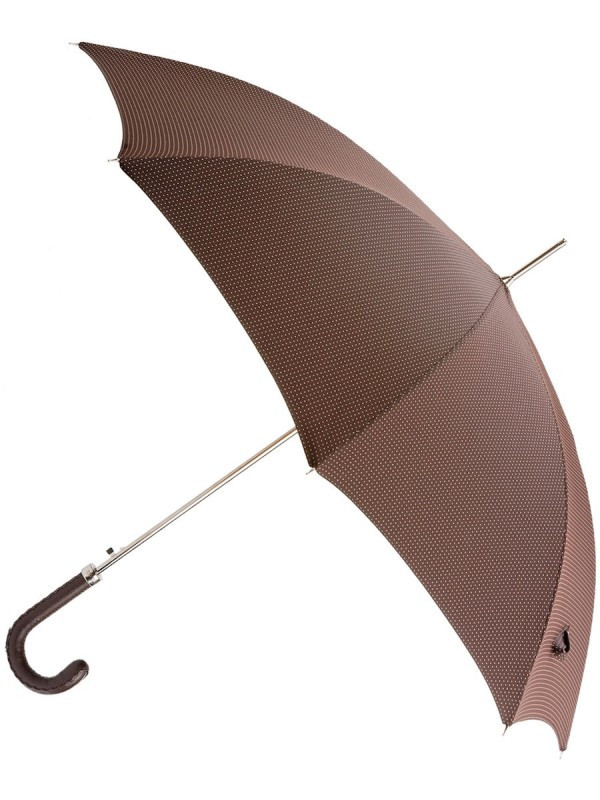 Brown w Pink Dots Brown Leather Handle (In-Stock)