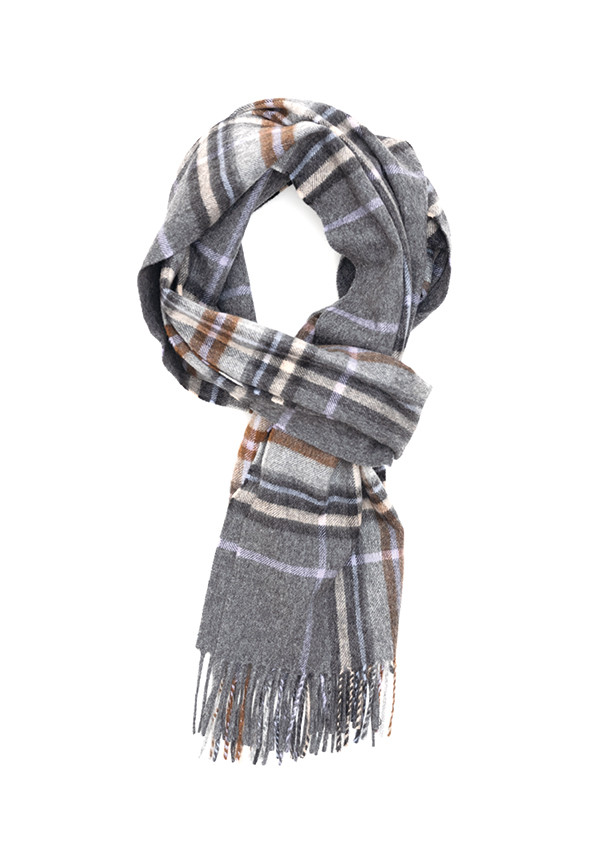 Charcoal, Oatmeal & Baby Blue Auckland Check Escorial Scarf
