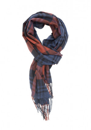 Red Grouse & Black Blackwatch Tartan Lightweight Scarf Cashmere Scarf