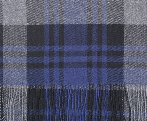 British Blue, Black & Derby Grey Blackwatch Tartan Lightweight Scarf Cashmere Scarf