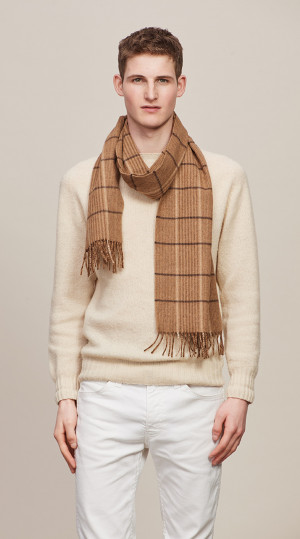 Camel & Dark Brown Canterbury Check Escorial Scarf