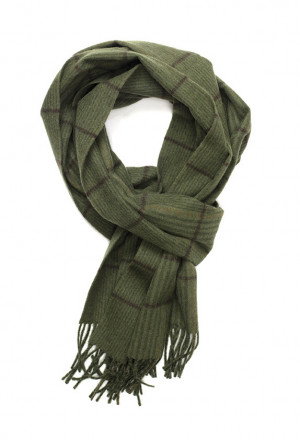 Olive & Dark Brown Canterbury Check Escorial Scarf