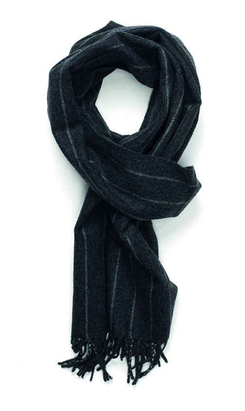 Mid Steel & White Chalk Stripe Classic Cashmere Scarf