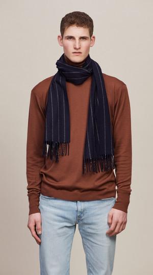 New Blue & Light Grey Chalk Stripe Classic Cashmere Scarf