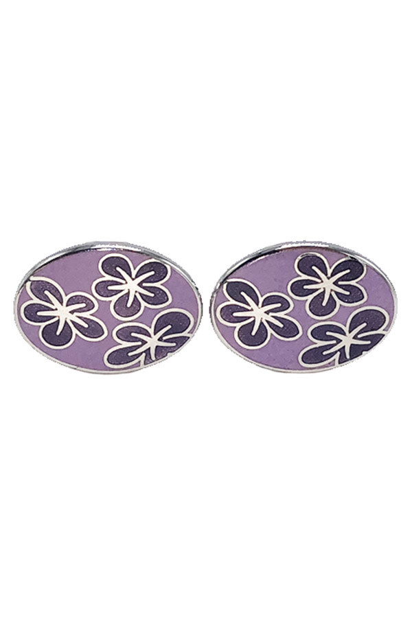 Purple Floral Cufflinks