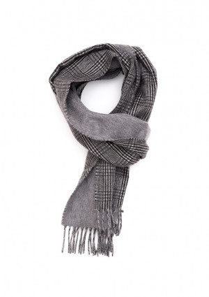 White, Black & Grey Glen Check On Solid Double Face Scarf