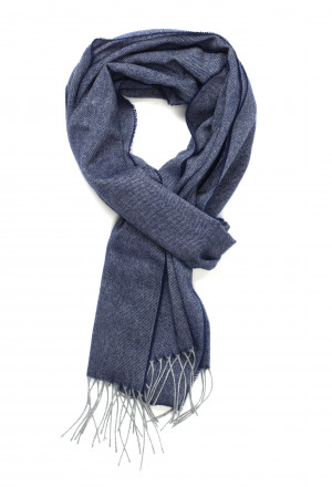 Felt Grey & British Blue Herringbone Lightweight Cashmere Scarf