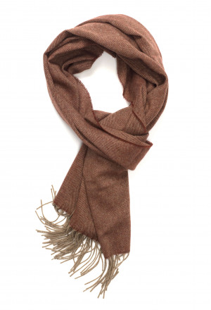 Natural & Red Grouse Herringbone Lightweight Scarf Cashmere Scarf