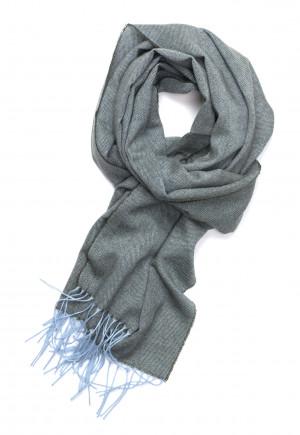 Soft Blue & Loden Herringbone Lightweight Scarf Cashmere Scarf