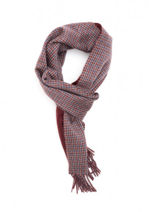 Natural, Wine & French Navy Houndstooth On Solid Double Face Scarf
